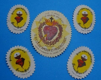 5 antique SACRED HEARTS // monastery stock from france // cotton // for pendant or frame