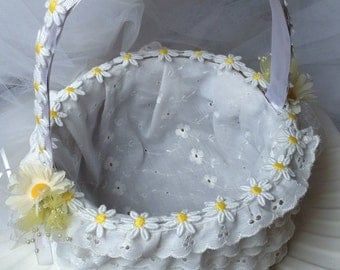 Summer Sale - Daisies and Eyelet Embroidery Lace Flower Girl Basket
