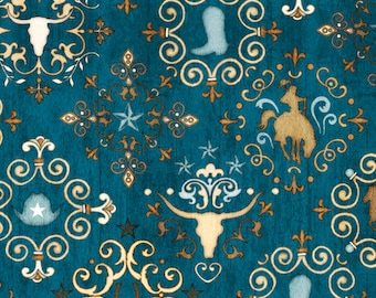 Western Medallions Dark Teal - Unbridled by Dan Morris for Quilting Treasures - Full or Half Yard Horses, Steer, Cowboy Boot, Horseshoe
