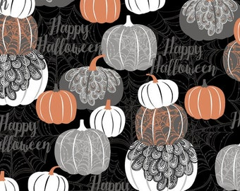 Halloween Pumpkins Gray, White, Copper Metallic - Potions & Spells from Quilting Treasures - Full or Half Yard