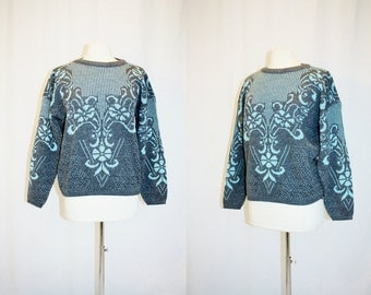 1980's Gray And Aqua floral Sweater Small-Medium Vintage Retro 80's Hipster Robin's Egg Blue Urban Women's Jumper Pullover