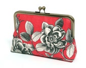 Coral silk lined floral clutch, Bridesmaid clutch, Weddings, Formal clutch purse, Bag Noir, Linen clutch