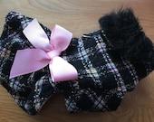 Black n Pink Boucle Wool Ruffle Sherpa Lined Small Dog Jacket