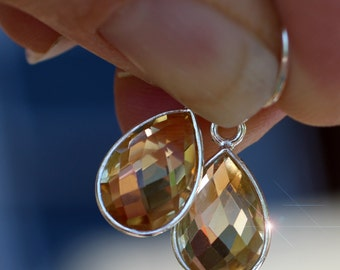 Drops of the Sun - Faceted Citrine Gemstone Drop Sterling Silver Earrings