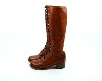 1970's Black Label Frye Lace Up Campus Boot with Tall Stacked Leather Heel - Women's Size 7 1/2 - 1970's Frye Boots