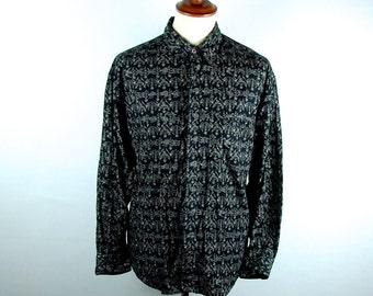 ESPRIT SPORT with Folk Art Beasties, Long Sleeve Button Up Shirt, Men's Size Large