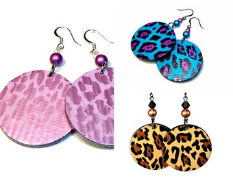 Fun Leopard Earrings, Statement Earrings, Animal Print Jewelry, Handmade Gift Ideas in Pink, Turquoise or Natural