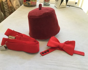 11th Doctor Completer Set! Red Bow Tie, Fez and Suspenders