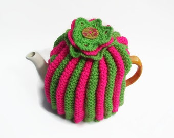 tea cozy hand knitted cosie with knitted 3 layer flower