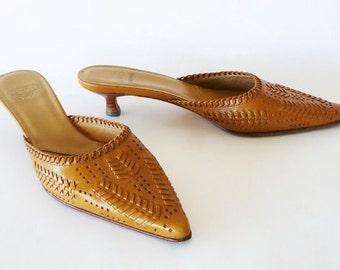 JOAN & DAVID Vintage Woven Leather Mules SHOES - Size 6.5 M - Saddle Tan