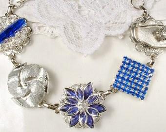 Navy Bridesmaid Bracelets, Bridesmaids Gifts, Sapphire Blue Bridal Vintage Earring Bracelet, Something Blue Old, Silver Cobalt Rhinestone