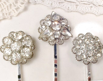 Antique Art Deco Rhinestone Bridal Hair Pin, Something Old 1920s Vintage Wedding Paste Bobby Pin, Silver Gatsby Hair Jewelry Downton CHOICE