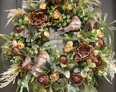 Bird Wreath, Fall Wreath, Nature Inspired Wreaths, Floral Door Wreath, Neutral Fall Decor, Door Wreaths
