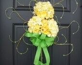 Hydrangea Swag, Spring Wreath, Yellow Hydrangea Wreath, Etsy Wreaths, Spring Hydrangea Bouquet