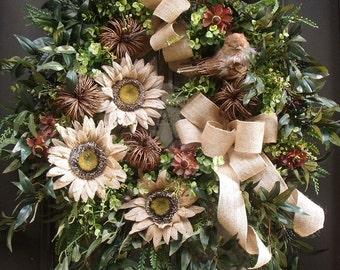 Fall Wreath, Sunflower Wreath, Burlap Wreath, Fall Door Wreath, Neutral Fall Wreath, Etsy Fall Wreaths