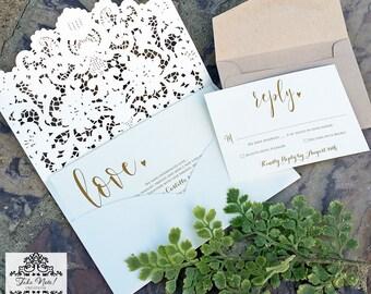 Laser Cut | Wedding Invitation | Pocket Style