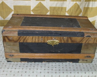 Antique Small Wooden Trunk Flat Top Wood Antique Doll Trunk Rustic Miniature Trunk Treasure Chest Old Wooden Box Victorian Trunk