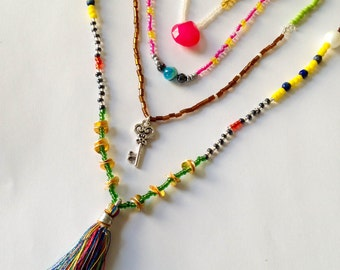 Long tassel necklace set multi layer necklace colorful seed bead necklace tassel necklace tassel jewelry key necklace beaded delicate dainty