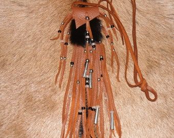 Rabbit and leather medicine pouch neck pouch mountain man pow wow totem