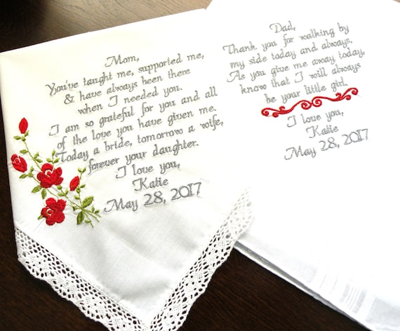 Wedding Gift for Mom Wedding gift for Dad Embroidered Wedding ...