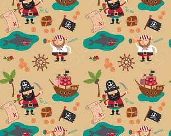 Laminated cotton Splash Splat Mat, Art Mat, Floor cloth, tablecloth, Blackbeard's Pirates by Riley Blake, BPA Free, Child Safe