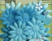 "Soft BLUE 20pc Fabric Flower Layers Glitter Petals 1.5-2"" PETALOO 1293-128"