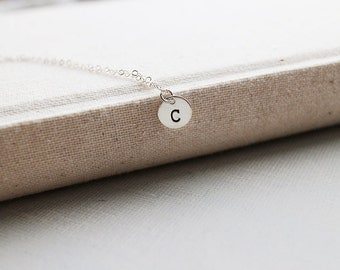 Initial Letter Necklace. sterling silver personalized initial necklace.monogram initial tag jewelry. minimalist birthday gift. friendship