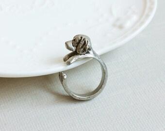 Dog Ring. Puppy Ring,  Labrador Retriever Ring,  Adjustable Ring, Antique Silver Ring, Friendship Ring. Pet Ring