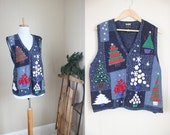 Ugly Christmas Sweater Party Vintage Vest Holiday Blue Trees Plus Size XL 2X