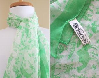 Vintage Scarf Green Animal Print Nasharr Freres Sheer Oblong