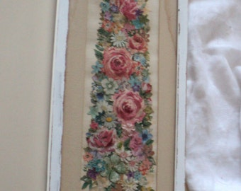 Vintage Shabby Chic Flower Handmade Papercraft.  Framed Picture. Wall Decor. Pretty, Feminine.
