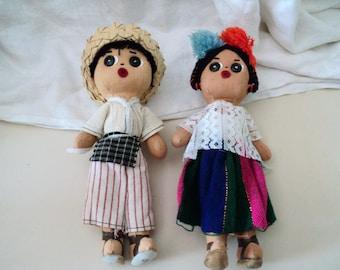 2 Colorful Hispanic Dolls in Folk Costume