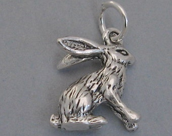 Sterling Silver Detailed 3d JACK RABBIT HARE Bunny Charm 8367