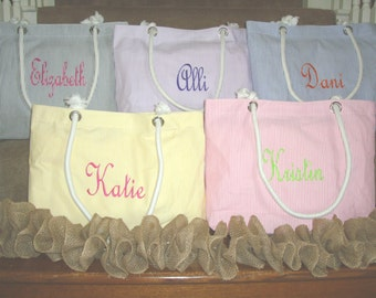 Personalized Bridesmaid Gift **SALE** Monogrammed Bridesmaid Tote Bag or Beach Bag Embroidered Bridesmaids Gifts