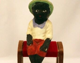 Black Americana Negro Boy Sitting Figurine Vintage Japan Bisque Ceramic