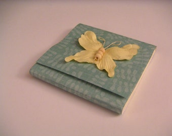 Teal Leaf Print Sticky Notes Pad with Pastel Yellow Paper and Beaded Butterfly