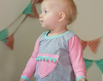 Knit romper, harem romper for babies, pull on romper, snapless romper, jumpsuit, cotton knit playsuit, grey with coral and turquoise accents