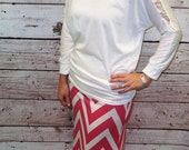 Hot Pink / White Chevron Maxi Skirt - Ladies Maxi Skirt - Sizes 2 - 10 - Mommy & Me Matching Maxi Skirts - Free Shipping to USA