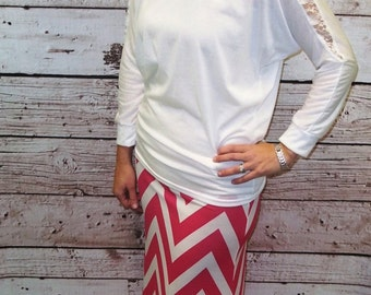 Hot Pink / White Chevron Maxi Skirt - Ladies Maxi Skirt - Sizes 2 - 10 - Mommy & Me Matching Maxi Skirts - Free Shipping to USA