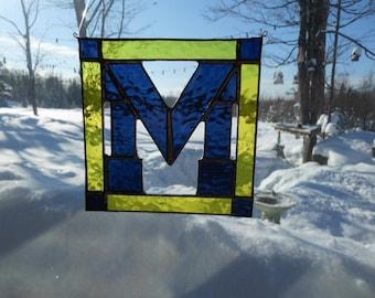 Eample of medium block letter stained glass suncatcher