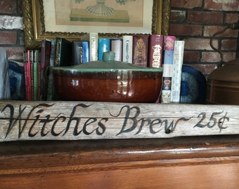 Hand Painted Rustic Driftwood Witches Brew Halloween Sign, Fall Home Outdoor Wall Decor, Trick Or Treat, Spells Cast,Hocus Pocus