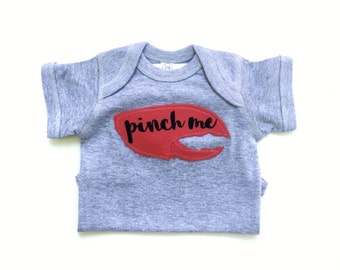 Pinch Me Bodysuit, Lobster gift, New England Baby, Funny Baby Gift, Clam Bake Shirt, Crab Shirt, Summer Baby Gift, Cute Baby Bodysuit