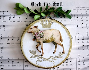 Lamb Ornament Lamb Christmas Decor Lamb Lover Lamb Gift Lamb Xmas Ornament Lamb Christmas Gift Shabby Chic Country French Ornament Pink
