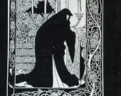 Art Nouveau Beardsley illustration from le Morte D'Arthur : Queen Guenever