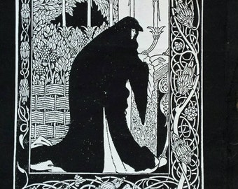Art Nouveau Beardsley illustration from le Morte D'Arthur : Queen Guenever