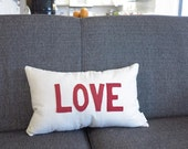 love pillow linen pillows love throw pillow words red and cream cushion