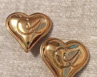 Iconic Gold Heart Vintage CHRISTIAN LACROIX Clip Earrings