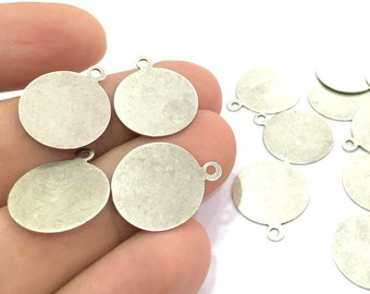 10 Pcs (16mm) Antique Silver Plated Brass Tag Charms   G4662