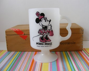 Vintage Minnie Mouse, Milk Glass Mug, Pedestal Base, Minnie Mouse Mug, Walt Disney Mug