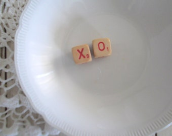 Vintage Scrabble Letter Cubes XO Word Block Decoration Wedding Decor Cake Topper